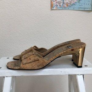 Vintage Stuart Weitzman cork kitten heels gold 6